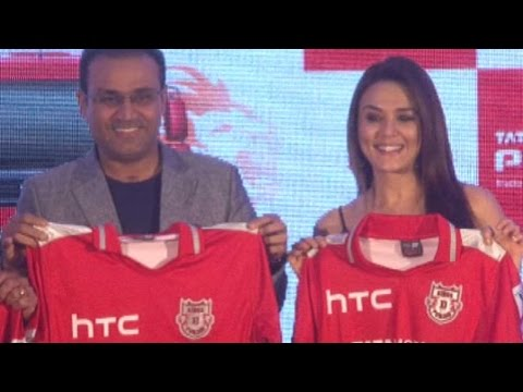 Preity Zinta And Virender Sehwag Unveil Kings XI Punjab Jersey