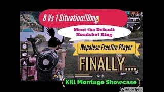 8 Vs 1 😨😨😨[kill Montage Of  Default headshot king] Never seen anyone using Grenade like him!!!