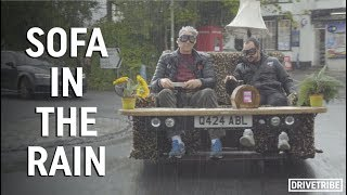 Testing Edd China's sofa car in the pouring rain