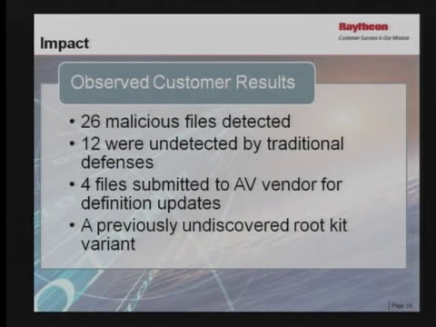 2011-11-02 CERIAS - SureView AMP, Active Malware Protection, detecting malware anti virus solutio...