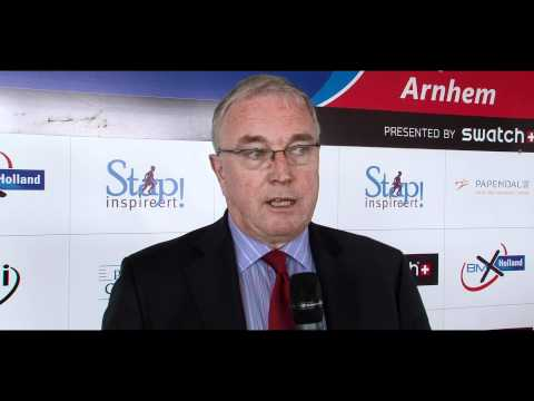 Pat McQuaid - president of the UCI - interview about UCI BMX Supercross Holland 2011