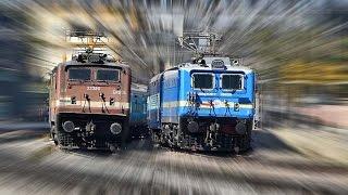 Red WAP 4 OVERTAKES Bright BLUE WAG 7 !!! HUMSAFAR EXPRESS - Indian Railways