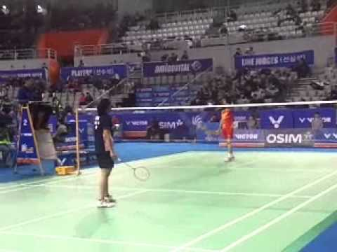 2012 Korea open : Saina Nehwal  vs Han Li (China) at seoul Olympic Stadium .