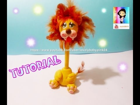 Lion Pen Holder cold porcelain DIY - Boligrafo Decorado León porcelana fria