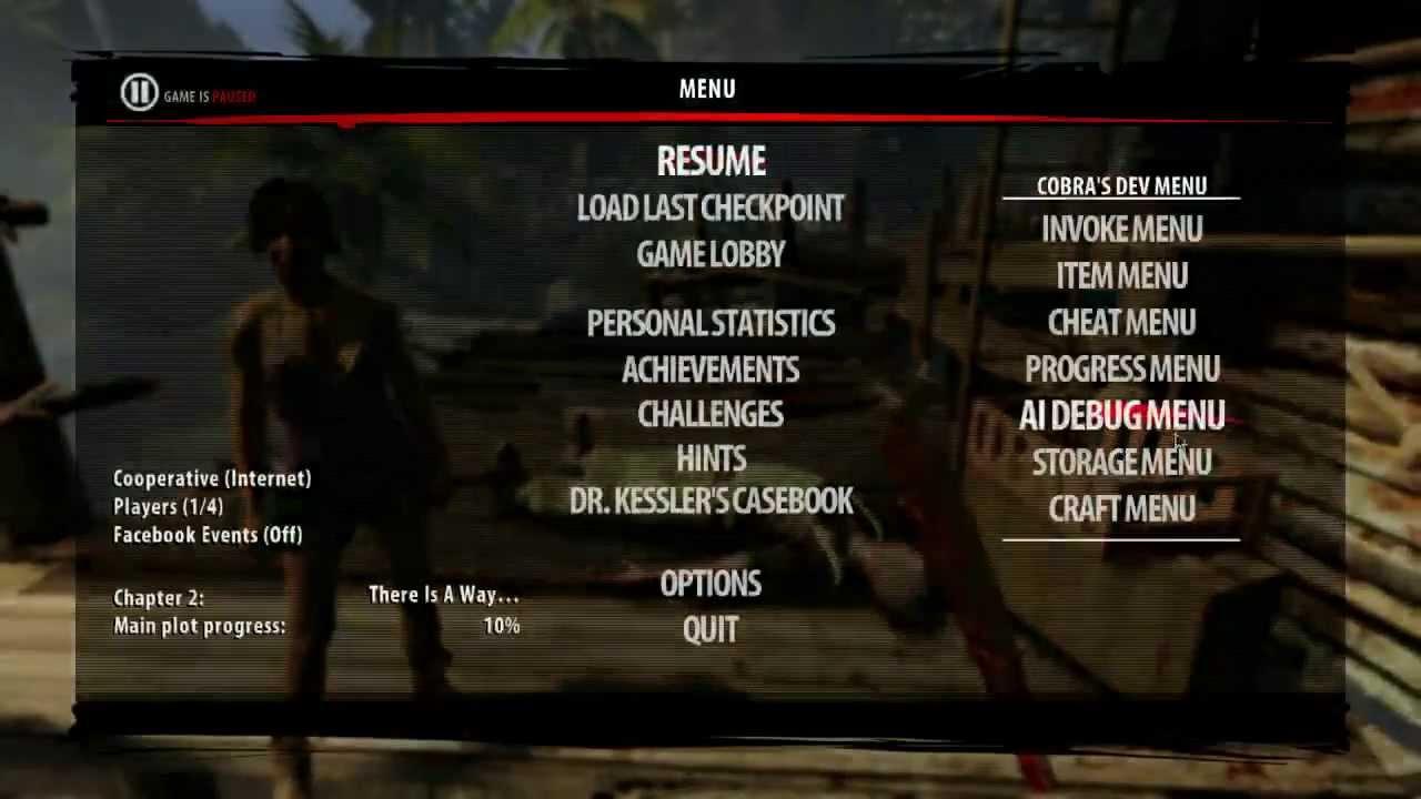 Dead Island: Riptide Cobra's Developer Menu (PC / Xbox 360 ...