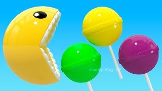 Learning Colors with 3D Pacman Lollipop for Kids Children Toddlers | Learn Colors With 3D Pacman