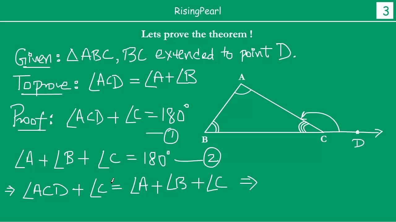 Exterior angle equals sum of two interior opposite angles - The exterior angle of a triangle is equal to ...