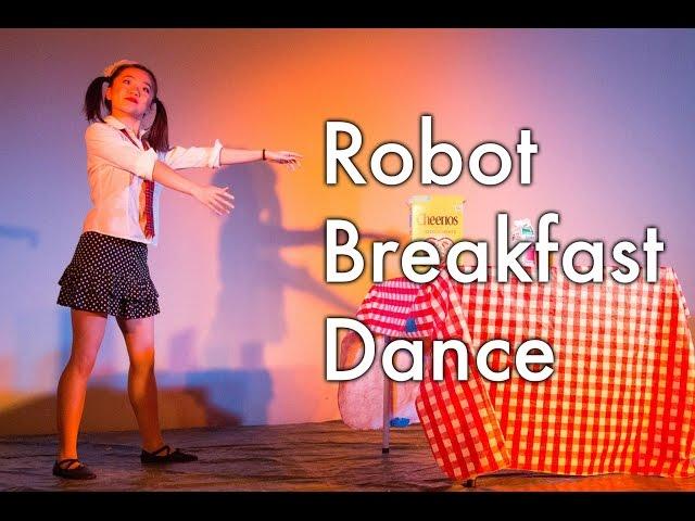 Girl Robot Dance - Funny robot making breakfast
