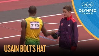 Usain Bolt Gives His Hat To Young Volunteer - London 2012 Olympics