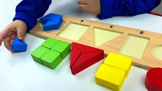 Learn SHAPES, COLORS, count SIDES of shapes with wooden puzzle pieces toy. Let play kids.