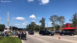 President Trump's motorcade arrives in Conway, SC, during post-Florence visit