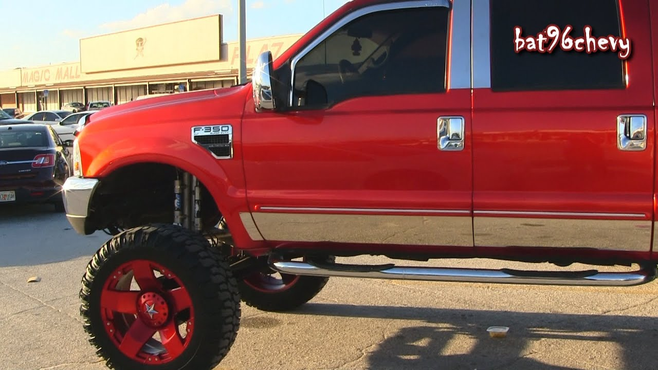 Candy Red Ford F 350 Super Duty Truck Lifted On 24 S