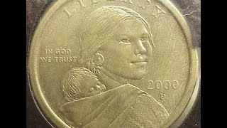 SacagaweaCoin 2000p Experimental Rinse U.S. MInt Error Sacagawea Dollar Coin Anti-Tarnishing Agent