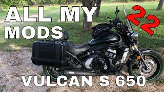 All My Mods & Accessories Reviewed - Kawasaki Vulcan S 650 - Corbin Givi Arrow Booster Plug R&G STS