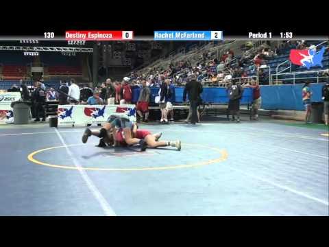 Fargo 2012 130 Round 3: Destiny Espinoza (California) vs. Rachel McFarland (Michigan)