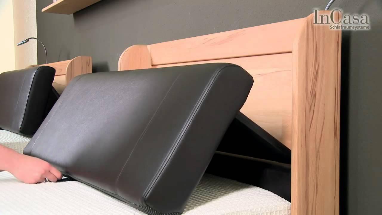 verstellbares kopfteil mit lederbezug youtube. Black Bedroom Furniture Sets. Home Design Ideas