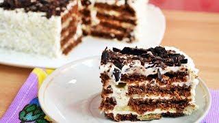 Торт БЕЗ ВЫПЕЧКИ шоколадно-творожный - словно бисквит!
