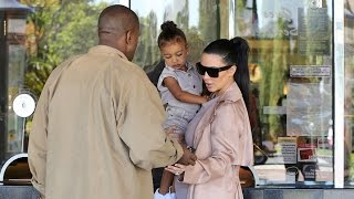 EXCLUSIVE - Kim And Kanye Take Adorable Nori To Movies In Matching Colors