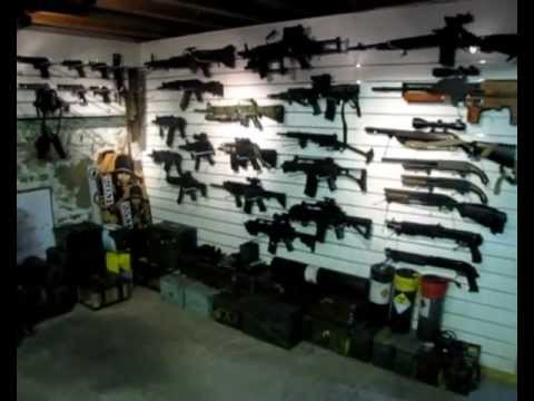 Airsoft gun collection armory war room youtube for Gun room design ideas for houses