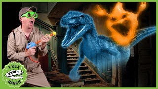 Dinosaur Ghost at Haunted Hotel! Kids Pretend Play Mystery with Giant Blaster Toys