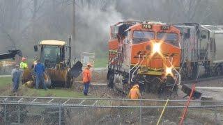 Aftermath of Loader Vs. Train Collision in Ottumwa, Iowa