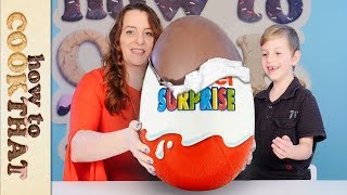 GIANT KINDER & opening 20-YEAR-OLD Kinder Surprise Eggs! How To Cook That
