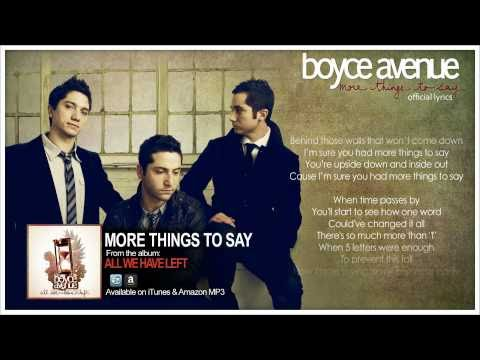 Boyce Avenue - More Things To Say