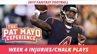 2017 Fantasy Football: Week 4 NFL Injury Report & DraftKings Milly Maker Chalk Picks and Pivots