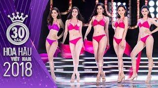 Trần Tiểu Vy, Bùi Phương Nga KHOE SỐ ĐO 3 VÒNG với phần đồng diễn bikini trong Đêm chung kết Hoa hậu