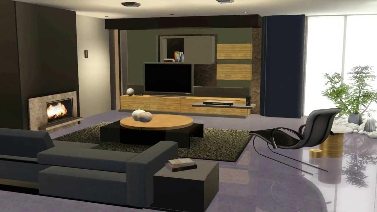 The sims 3 living moderno youtube for Sims 4 living room ideas