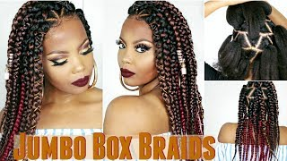 JUMBO BOX BRAIDS TUTORIAL | RUBBER BAND METHOD + DIY WHIPPED SHEA BUTTER TO GROW 4C HAIR | TASTEPINK