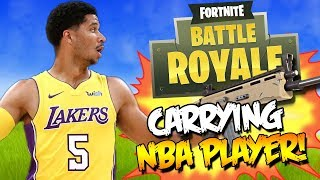 CARRYING NBA PRO BASKETBALL PLAYER IN FORTNITE!