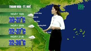 Thời tiết 12h 18/08/2019: Thanh Hóa đến Huế vào chiều tối và đêm có mưa dông nhiều nơi  | VTC14