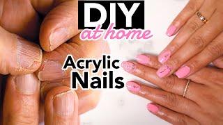 DIY Acrylic Nails At HOME! | EASY | jasmeannnn