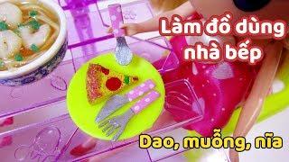 Làm đồ cho búp bê: Dao, muỗng, nĩa nhà bếp búp bê/ DIY Miniature Fork , Knife, Spoon / Ami DIY