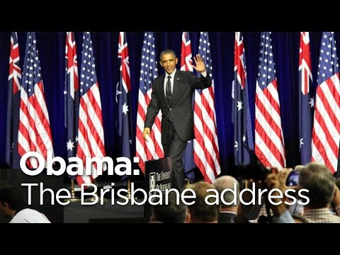 Barack Obama speaks at Brisbane university during G20