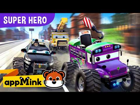 appMink Police Car, Fire Truck, Helicopter catch Evil Bus   Cars Kids Cartoon & Kids Videos