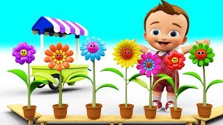 Little Baby Learning Colors for Children with Funny Face Flowers Gardening 3D Kids Toddler Education