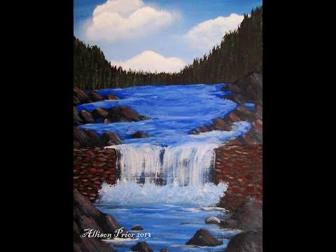 How to paint a waterfall and rock wall acrylic painting for How paint on canvas