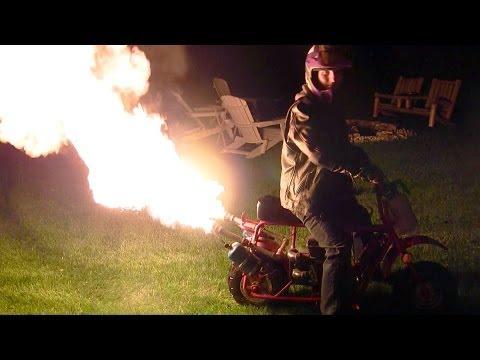 ... Bike Custom Flamethrower Exhaust- Riding With new Spray Bottle (1080p