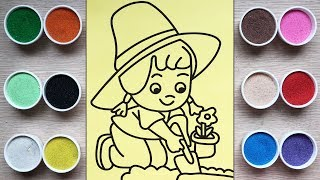 Toys for kids, coloring the planting flower girl sand painting - Chim Xinh