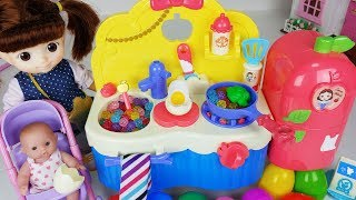 Baby doll kitchen cooking and refrigerator food toys Surprise Eggs play - 토이몽