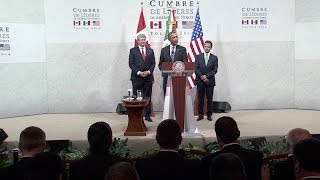 President (Obama) Delivers Remarks with President Peña Nieto and Prime Minister Harper  2/20/14