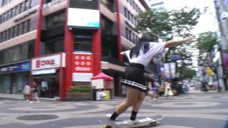 Longboard Dancing girl  in Myeong dong (Dancing yui Longboards)