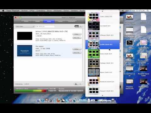 Grabar películas en un DVD en mac usando Roxio Toast 11 Titanium