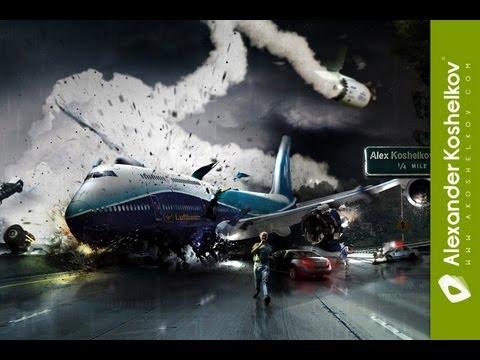 Recreación de un accidente aéreo hecha completamente en Photoshop