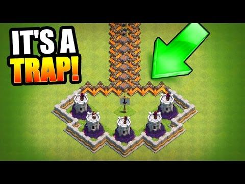 HARDEST TROLL BASE EVER!? 🔥 Clash Of Clans 🔥 MINI GAME BASE!