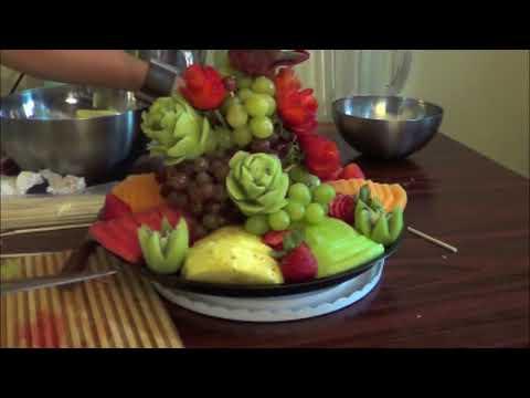 Como hacer un platon de fruta picada para una fiesta o regalo #1 - arte con fruta  DIY