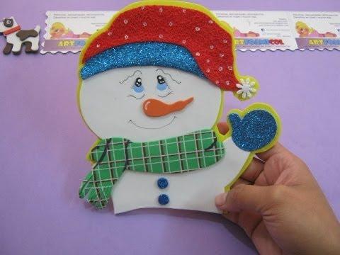 Mu eco de nieve navide o en foamy o gomaeva adorno para - Munecos de navidad ...