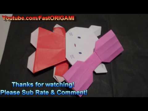 How to make Hello Kitty Origami ハローキティちゃんの折り紙折り方 Del Gato 凯